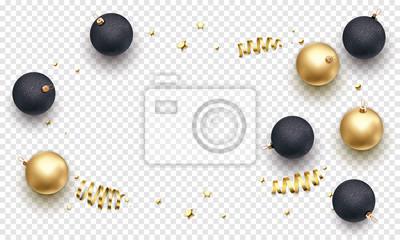Modèle de fond de carte de voeux de vacances de Noël de décorations de boule d'or sur les branches d'arbres de Noël. Vector Nouvel an paillettes d'or étoiles confettis sur fond blanc de luxe transpare