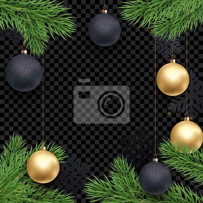 Modèle de fond de carte de voeux de vacances de Noël de décorations de boule d'or sur les branches d'arbres de Noël. Vector Nouvel an paillettes d'or étoiles confettis sur fond noir de luxe transparen