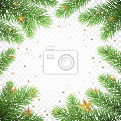 Modèle de fond de carte de voeux de vacances de Noël du cadre de guirlande de branche de sapin de nouvel an et des confettis d'étoiles dorées. Vector Design d'affiche de décoration de Noël ou du nouve