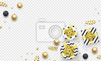 Modèle de fond de carte de voeux vacances Noël des décorations de boule d'or. Cadeaux de Noël ou du nouvel an de vecteur avec noeud de ruban d'or et étoiles de paillettes d'or confettis sur blanc tran