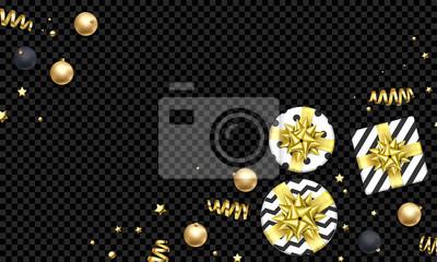 Modèle de fond de carte de voeux vacances Noël des décorations de boule d'or. Cadeaux de Noël ou du nouvel an de vecteur avec noeud de ruban d'or et étoiles de paillettes d'or confettis sur le luxe tr