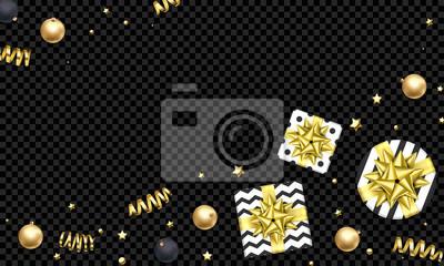 Modèle de fond de vacances de Noël ou du nouvel an de décoration dorée, arc de ruban or cadeau ou confettis or sur noir transparent. Carte de voeux de Noël vecteur parti ou conception de vente premium