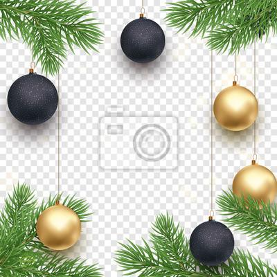 Modèle de fond de vacances de Noël ou du nouvel an de décoration dorée, arc de ruban or cadeau ou confettis or sur noir transparent. Carte de voeux de sapin de Noël de vecteur ou conception de vente p