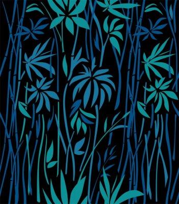 Papiers peints Modèle de fourrés de bambou de feuilles d'émeraude et de branches bleues sur un fond noir