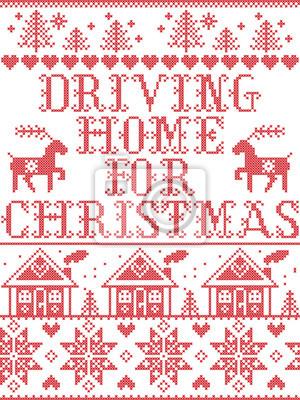 Modèle de Noël au volant de la maison pour le modèle sans couture de vecteur carol inspiré par la culture nordique, hiver festif au point de croix avec cœur, flocon de neige, neige, arbre de Noël, ren