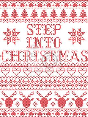Modèle de Noël Entrez dans le modèle sans couture de vecteur carol inspiré par la culture nordique, hiver festif au point de croix avec cœur, flocon de neige, neige, arbre de Noël, renne,