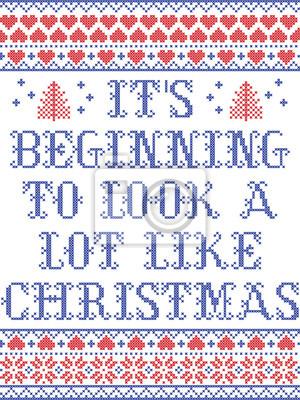 Modèle de Noël Il commence à ressembler beaucoup à un modèle sans couture de Noël pour le vecteur scandinave inspiré par la culture nordique, hiver pointant au point de croix avec cœur, flocon de neig