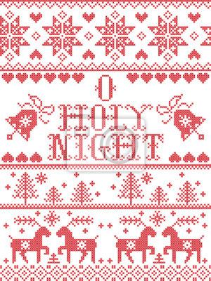 Modèle de Noël O saint nuit modèle sans couture de vecteur carol Christmas inspiré par la culture nordique hiver festif au point de croix avec coeur, flocon de neige, neige, arbre de Noël, Rennes
