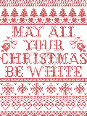 Modèle de Noël que vos jours soient motif sans soudure de vecteur joyeux et lumineux inspiré par hiver festif de la culture nordique au point de croix avec coeur, flocon de neige, neige, arbre de Noël