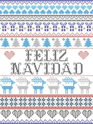 Modèle de Noël sans couture de style scandinave Feliz Navidad, inspiré de Noël norvégien, modèle d'hiver festif au point de croix avec des rennes, arbre de Noël, cœur, flocons de neige, neige, cadeau