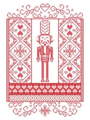 Modèle de Noël scandinave Vector élégant motif d'hiver de style nordique, y compris soldat Casse-Noisette, flocon de neige, coeur, neige, flocon de neige, ornements sans soudure au point de croix en b