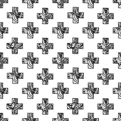 Papiers peints Modèle de style minimal scandinave en croix avec texture filetée ajourée. Conception d'impression en tissu géométrique noir et blanc.