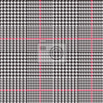 Modele De Vecteur Plaid Glen En Noir Blanc Et Rouge Stripes Papier