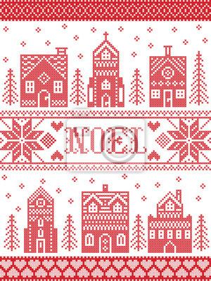 Modèle de village de Noël de vecteur Noel inspiré par la culture nordique hiver festif au point de croix avec coeurs, renne, ornements décoratifs, flocon de neige, église, chapelle, maison au point de