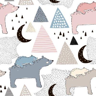 Papiers peints Modèle enfantin sans couture avec maman et bébé ours polaire. Conception créative des enfants. Parfait pour le tissu, textile, warpping, nursery.Vector Illustration