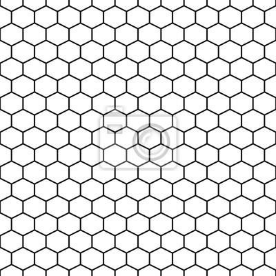 Modèle hexadécimal de vecteurs de cellules de quadrillage sans soudure. Fond hexagonal en noir et blanc.