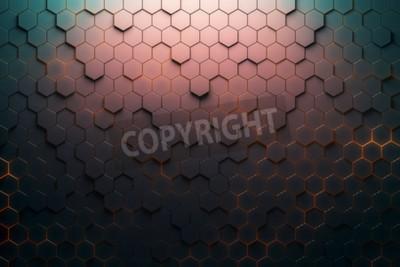 Papiers peints Modèle hexagonal rouge. Rendu 3D