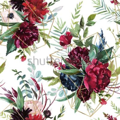 Papiers peints Modèle sans couture aquarelle. Floral géométrique illustration - bouquet de fleurs Bordeaux avec des formes géométriques or sur fond blanc. Papeterie de mariage, salutations, fonds d'écran, mode,
