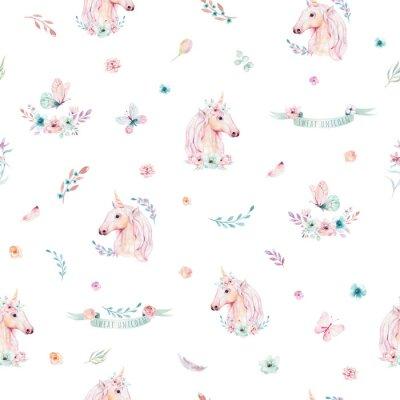 Papiers peints Modèle sans couture aquarelle licorne mignonne avec des fleurs. Patrons de licorne magique de pépinière. Princesse texture arc-en-ciel. Cheval de poney de dessin animé rose à la mode.