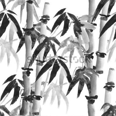 Papiers peints modèle sans couture avec bambou dans le style japonais sur fond blanc