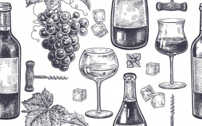 Papiers peints Modèle sans couture avec boire du vin.