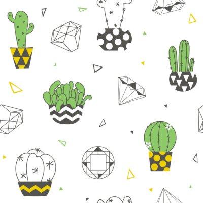 Papiers peints Modèle sans couture avec cactus drôles