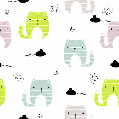 Papiers peints Modèle sans couture avec chat drôle et souris noire. Vector illustration dessinée à la main.