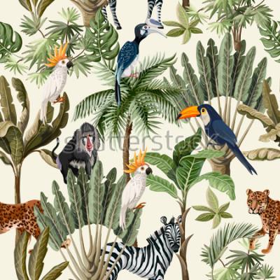 Papiers peints Modèle sans couture avec des animaux et des arbres exotiques.