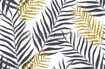Papiers peints Modèle sans couture avec des feuilles de palmier doré et de banane en vecteur