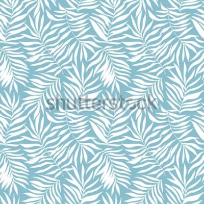 Papiers peints Modèle sans couture avec des feuilles de palmier tropical. Belle impression avec des plantes exotiques dessinés à la main. Maillot de bain design botanique. Illustration vectorielle