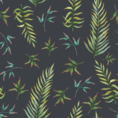 Papiers peints modèle sans couture avec des feuilles tropicales sur fond sombre