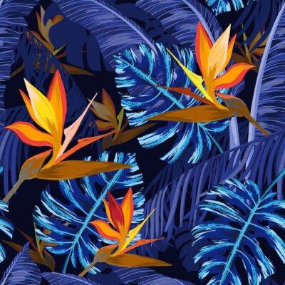 Papiers peints Modèle sans couture avec des fleurs tropicales bleus