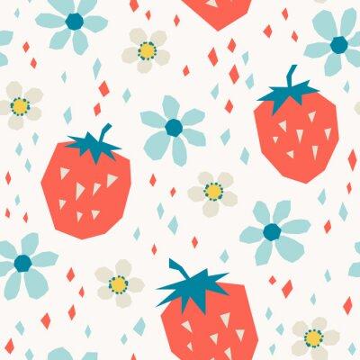 Papiers peints modèle sans couture avec des fraises et des fleurs