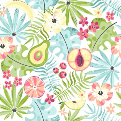 Papiers peints Modèle sans couture avec des fruits et des fleurs