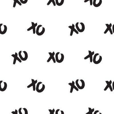 Modèle sans couture avec des mots xoxo. Coup de pinceau noir et blanc fond de vecteur de répétition.