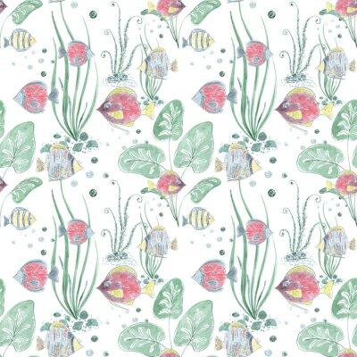 Papiers peints Modèle sans couture avec des poissons exotiques colorés sur fond clair.