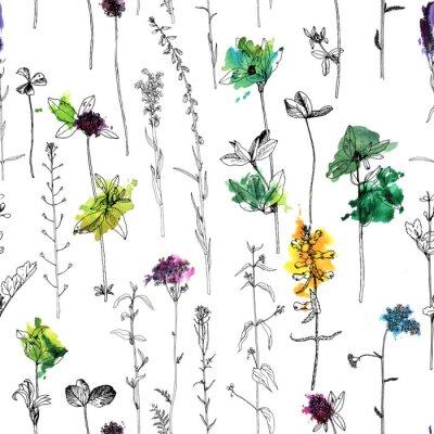 Papiers peints Modèle sans couture avec dessin d'herbes et de fleurs