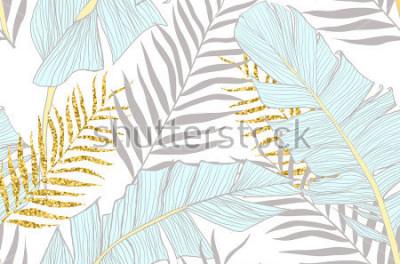 Papiers peints Modèle sans couture avec feuilles de palmier doré et de banane en vecteur