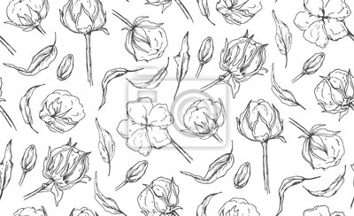 Modele Sans Couture Avec Fleur De Boule De Coton Laisse Les Papier