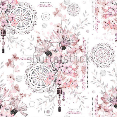 Papiers peints modèle sans couture avec fleurs à l'aquarelle et ornements texturés - mandala. Floral abstrait. Tuile avec fleur sauvage Prairie et illustration géométrique.