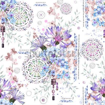 Papiers peints modèle sans couture avec fleurs à l'aquarelle et ornements texturés - mandala. Floral abstrait. Tuile avec fleur sauvage Prairie et illustration géométrique. Bleuets, moi-non