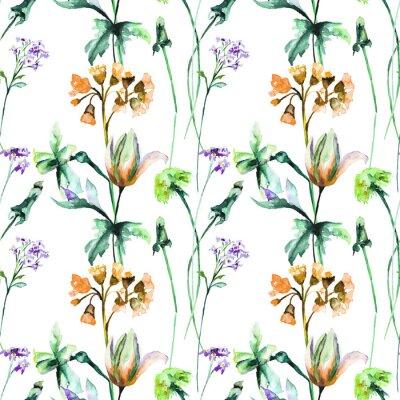 Papiers peints Modèle sans couture avec fleurs d'été originales