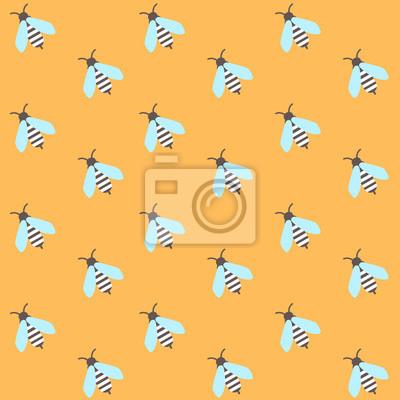 Modèle sans couture avec les abeilles sur fond jaune