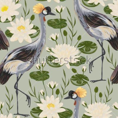 Papiers peints Modèle sans couture avec oiseau grue et nénuphar. Motif oriental. Illustration vectorielle Vintage dessinés à la main dans un style Aquarelle