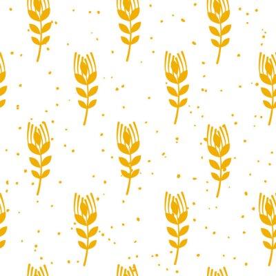 Papiers peints Modèle sans couture boulangerie avec du blé sur fond blanc. Ornement pour textile et emballage. Vecteur.