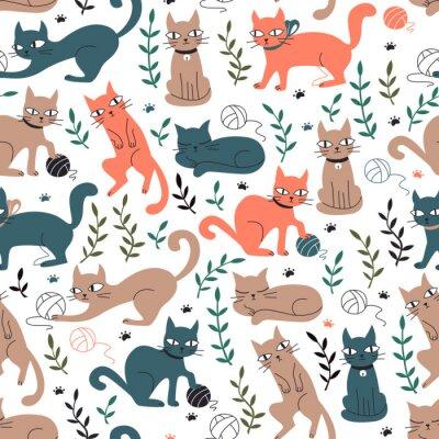 Papiers peints Modèle sans couture coloré avec des chats et des feuilles.