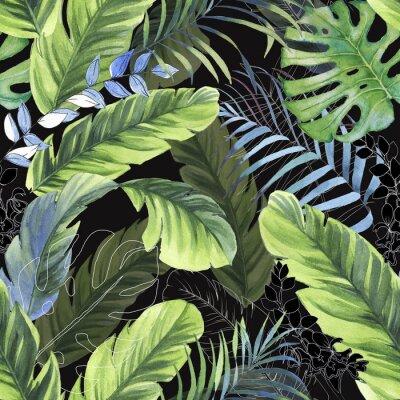 Papiers peints Modèle sans couture coloré dessiné de main avec des feuilles de palmier aquarelle, des plantes exotiques et des feuilles de bananier. Été à plusieurs reprises