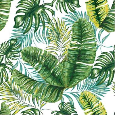 Papiers peints Modèle sans couture d'un palmier tropical, des feuilles et des fleurs de la jungle. Dessin à main levée. Motif floral de vecteur.
