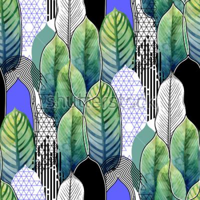 Papiers peints Modèle sans couture de feuilles de papier d'héliconia exotiques dessinés en techniques artistiques graphique et aquarelle en ligne