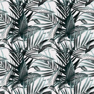 Papiers peints Modèle sans couture de feuilles tropicales. Contexte artistique